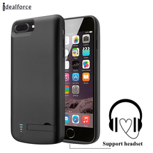 Support headset External Power bank Pack backup battery Charger Case For iPhone 7 8 Plus Audio Input Cover cases Charging 2in1