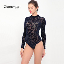 Ziamonga прозрачное сексуальное боди женские комбинезоны, обтягивающие боди, прозрачные женские боди с длинным рукавом C2915