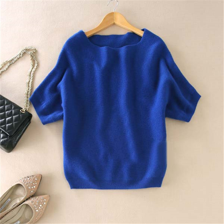 zocept High-Quality Cashmere Sweater Women Loose Casual Big Bat Shirt Short-Sleeved Kintted Soft and Comfortable Pullovers 3