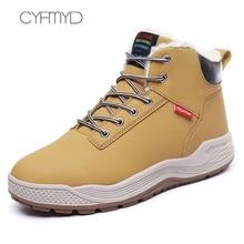 Men Snow Boots Winter Wedges Plus Size 45-48 Lace Up Ankle For Boys Short Plush Sturdy Sole Casual Shoes Male Hot Sale