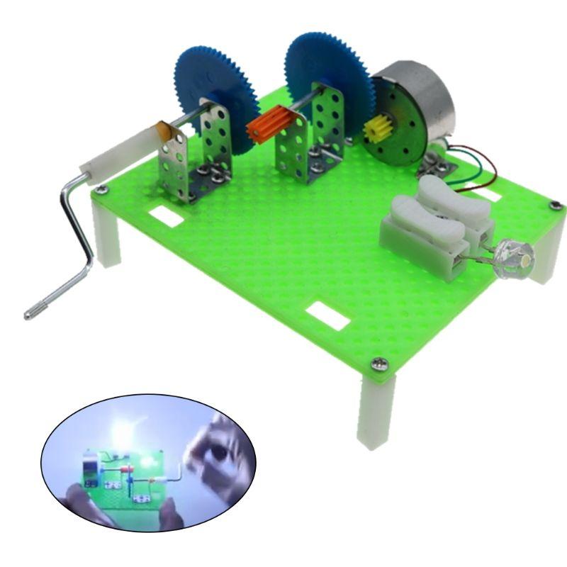 Creative DIY Science Hand Crank Generator Apparatus Kids Children Mounted Assembled Kits Teaching Physics Experiment
