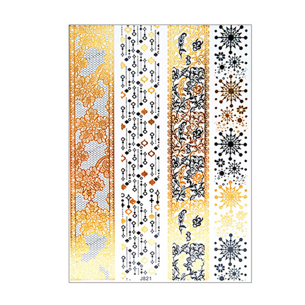 Lace Flower Flash Tattoo Stickers Women Chains Gold   Temporary Tattoo Girls Ankle Waterproof Tatto