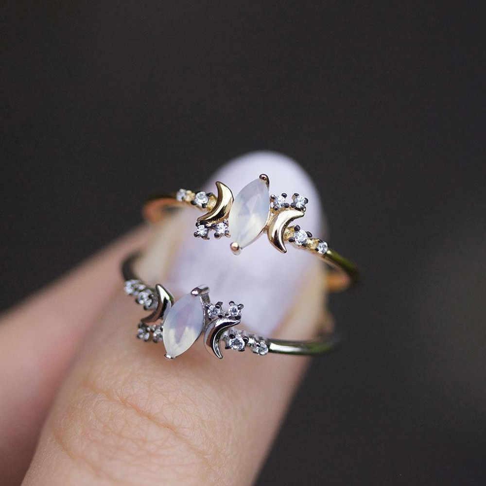 Chic ผู้หญิงแหวนดวงจันทร์สีขาว Opal Wedding หมั้นแหวนขนาด 6 7 8 9 10 Flawless Anillos เครื่องประดับ Gorgeous แหวน Trinket