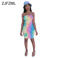Colorful Tie Dye Sexy Bodycon Dress Women Fashion Off Shoulder Backless Party  Summer Strapless Sleeveless Mini Sundress