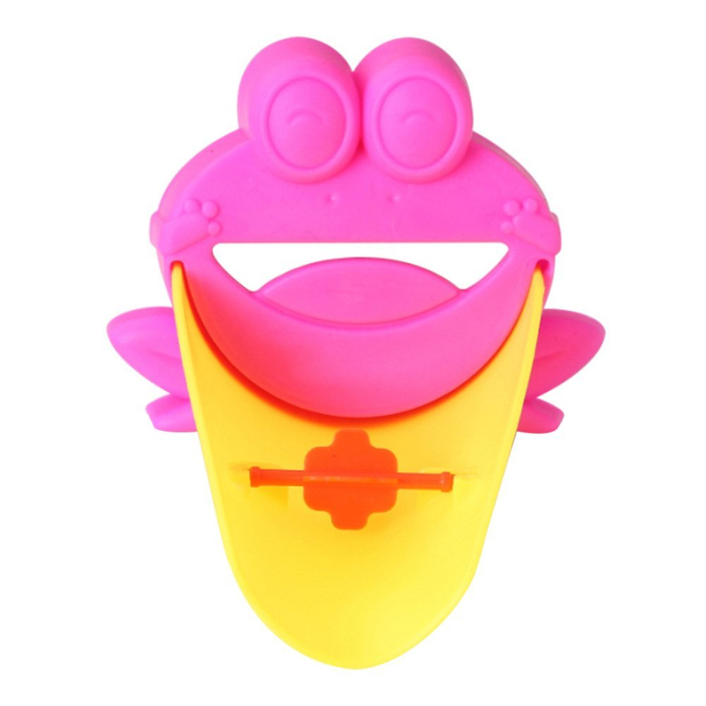 SDFC-Cute Extension Extender For Kids Baby Hands Wash Bathroom Cartoon Frog Design (Pink)