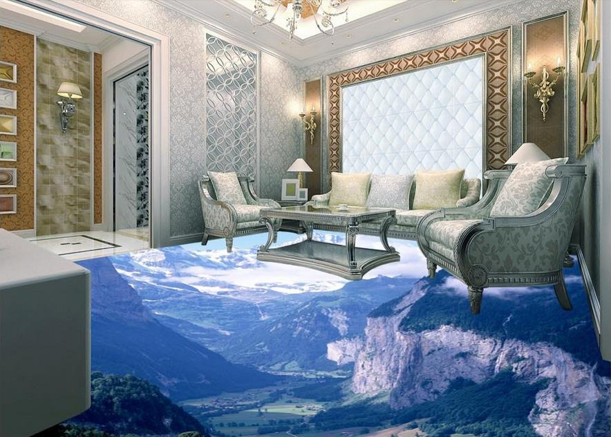 ФОТО 3d floor murals custom adhesive paper roll Valley Landscape 3d floor painting waterproof wallpaper for bathroom