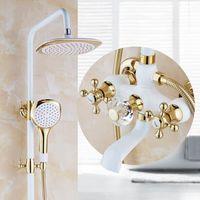 Free Shipping Bath & Shower Faucet Gold Shower head faucet Bathtub Faucet Set Wall Mounted Bathroom Rainfall Shower Faucet Set