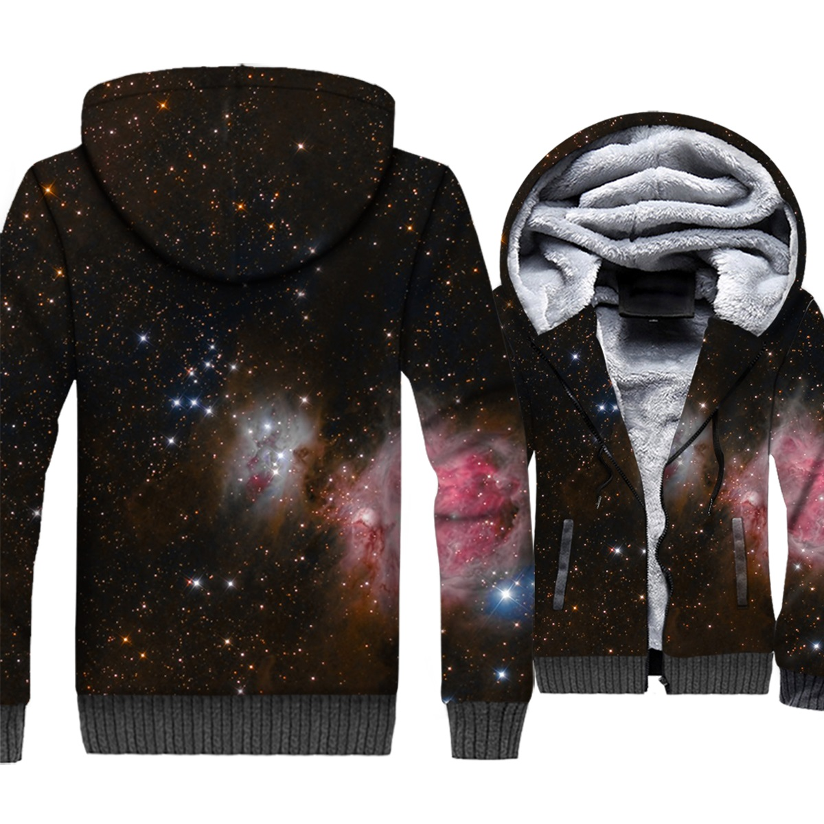 starry sky 3D print hooded tracksuits male men thick long sleeve wool liner coats harajuku sweatshirt 2019 winter casual jackets