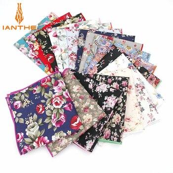 Marka Yeni Erkek Pamuk Mendil Çiçek Baskılı Cep Meydanı Düğün 25 Cm * 25 Cm Hankies Erkekler Için Klasik Vintage Cep Havlu