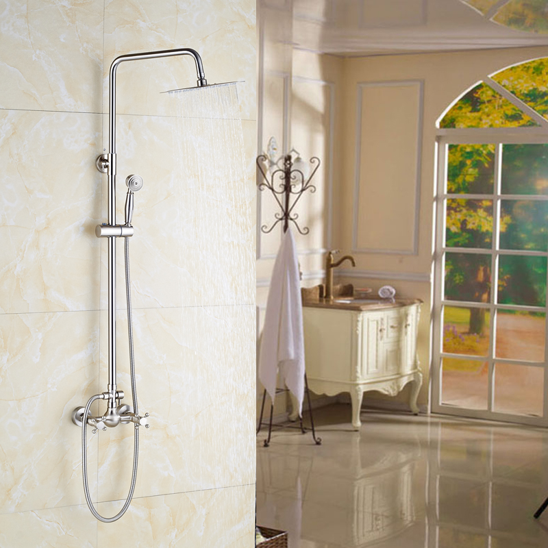 Bathroom Shower Brushed Nickel Mixer Faucet 8