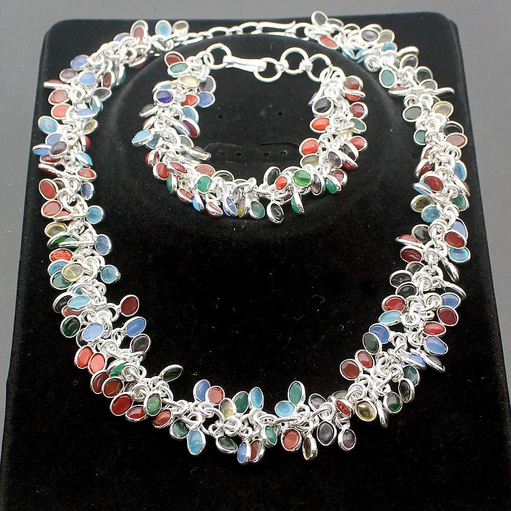 цена Hermosa Multi-Precious Stones SPLENDID RED CORAL BLACK ONYX PERIDOT 925 Sterling Silver Bracelets 8