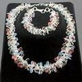"Hermosa Multi-Precious Stones SPLENDID RED CORAL BLACK ONYX PERIDOT AGATE 925 Sterling Silver Bracelets 8 "" + Necklaces 20"" Set"