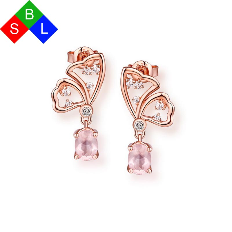 Bsl Online Fine Jewelry Real 925 Sterling Silver Pink Gemstone Earrings Studs Flower Shape 2017 New Arrival Unique In From