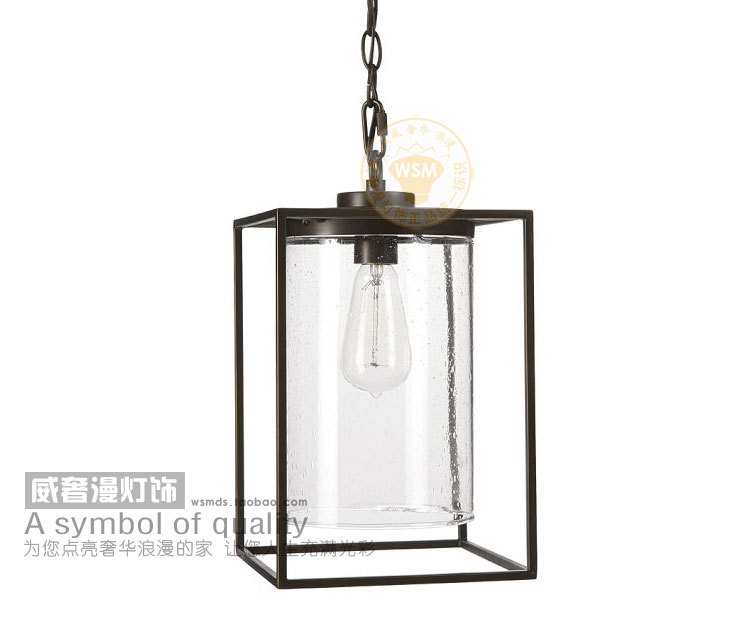 Vintage Industrial Modern Glass Proof Pendant Light Retro Rustic Chain Hanging Cube Lamp Shade Black Art Deco Kitchen Island In Lights From
