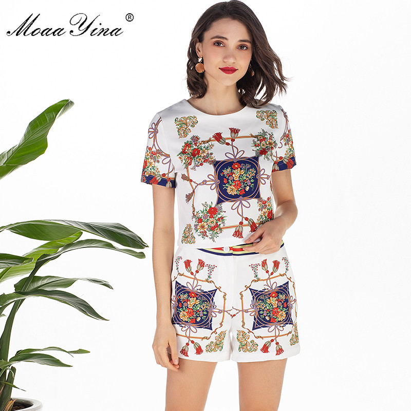 MoaaYina Spring Summe Set Women s Short sleeve Stripe Floral Print Elegant Shirt Tops Sexy shorts