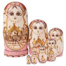 7pcs/8pcs Wood Dolls Set babushka matryoshka Wooden Russian Nesting Babushka Matryoshka Hand Paint Dolls Wooden Matryoshka Dolls