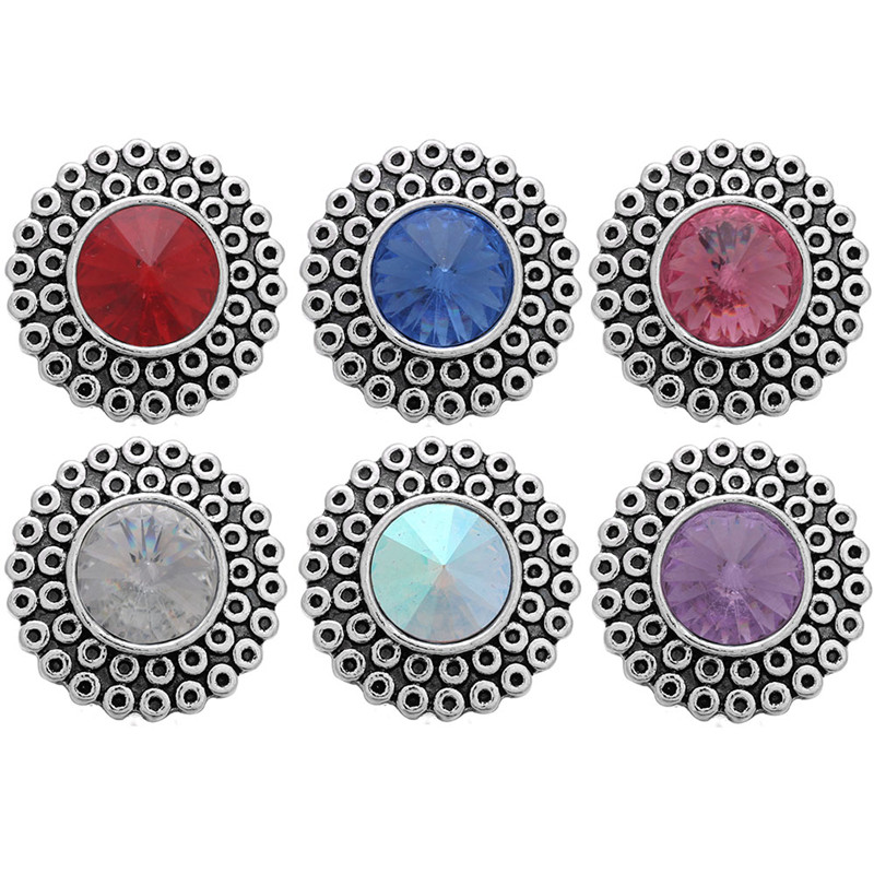 10pcs/lot Snap Button 18mm With Flowers Birthstone Rhinestone Snaps Jewelry Fit 18mm Snap Bracelets For Women Gift ZA872