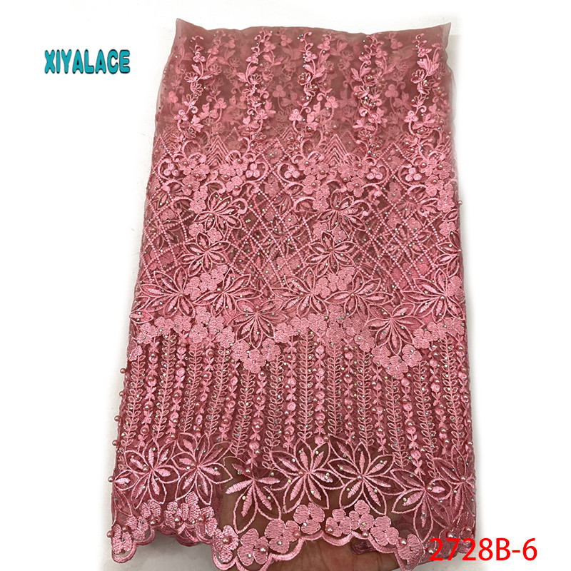 African Lace Fabric Beads Lace Fabric Embroidered Nigerian Net Laces Fabric Bridal 2019 High Quality French Tulle YA2728B-6
