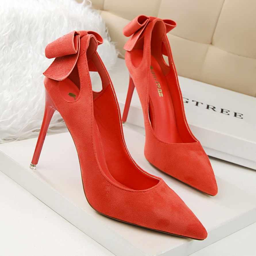 LTARTA 2018 kadın pompaları yüksek topuklu ayakkabılar süet sığ sivri uçlu BowSlip-düğün parti ayakkabıları bayan için. PSDS-3168-1