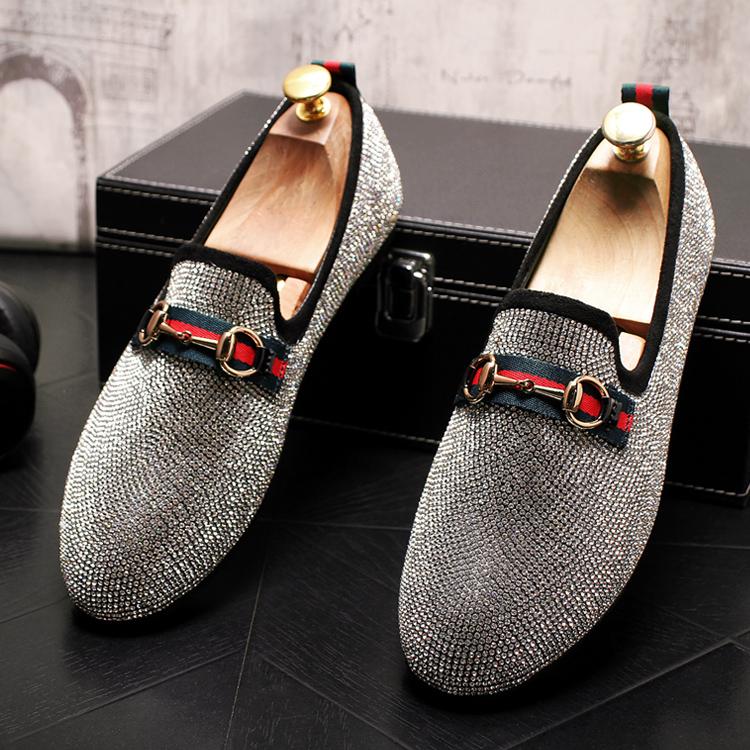 Mens Luxury Designer Fashion Leader Rhinestone Charm Platform Shoes Hip Hop Rock Prom Homecoming Zapatos Hombre Moccasins 48