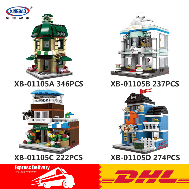 XingBao 01105 Genuine 1079 Pcs The Coffee Shop Wedding Store Flower Shop Pet Shop Set 4 in 1 Building Blocks Bricks Toys Model genuine pet shop 577 brown white