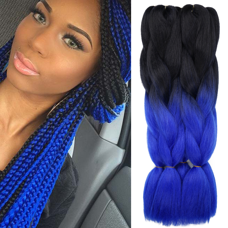 Two Tone Ombre Jumbo Kanekalon Braiding Hair Colors 24 100g