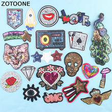 ZOTOONE Sequin Patch Flower Animal Star Iron on Embroidery Patches for Clothing DIY Stripes Clothes Stickers Applique D