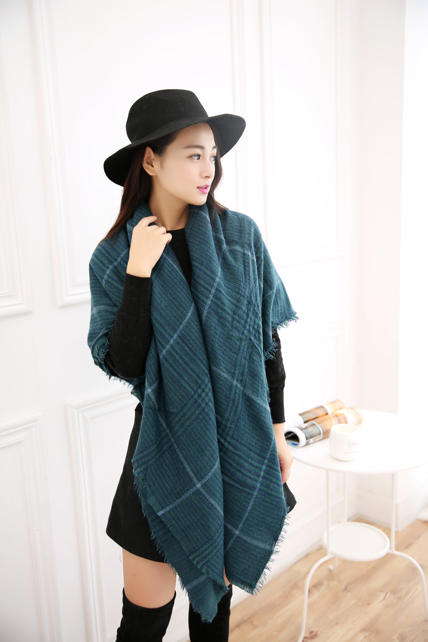 New Winter Women s scarves font b tartan b font scarf shawl green shawl wrapped acrylic