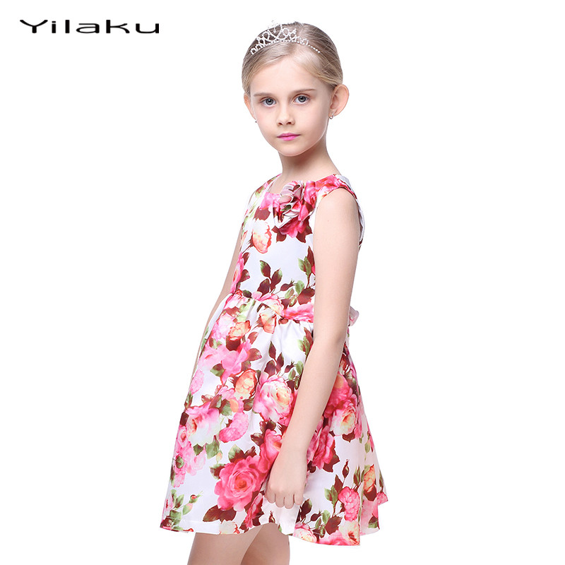 Floral Print Girls Dress 2017 Summer Sleeveless Girls Clothes Party Wedding Costume for Kids Dresses Princess Girl Dress CA282 1
