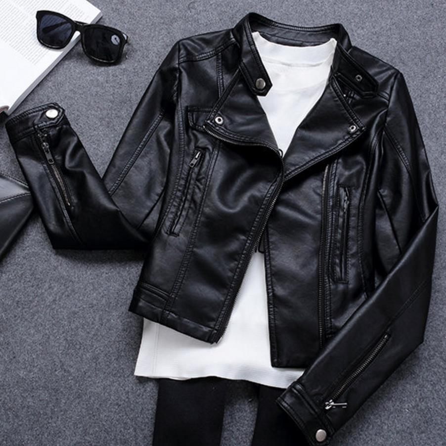 Motorcycle PU   Leather   Jacket Women Zipper Outerwear jacket