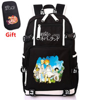 Japanse Anime The Promised Neverland Printing Backpack Cartoon Laptop Backpack Canvas Travel Backpack Cosplay Daypack Rugzak