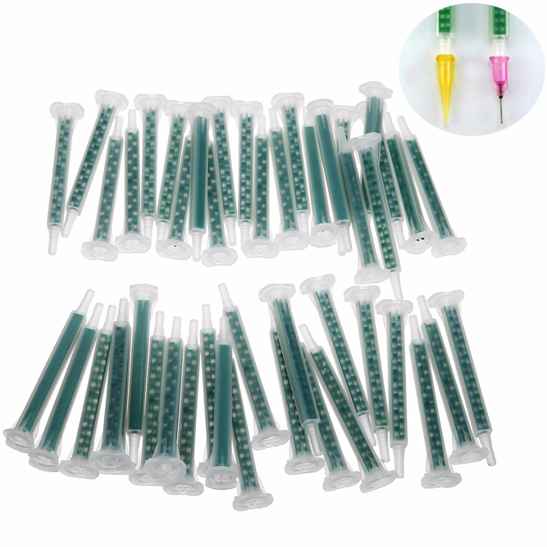 50pcs Plastic Resin Static Mixer Nozzle F6-16 Mixing Nozzles Set 83x9mm For Duo Pack Epoxies