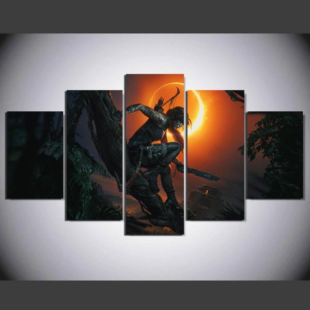 US $10 32 32% OFF|Aliexpress com : Buy HD 5 panel Canvas tomb raider  Painting Home decor Poster Picture For Living Room YK 360 from Reliable  Painting