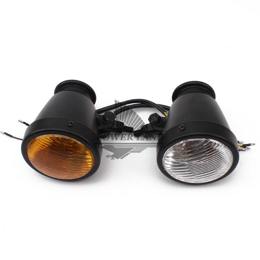 Ancienne école mat noir Vintage H4 12 V 60/55 W moto ambre/clair lentille phare 4