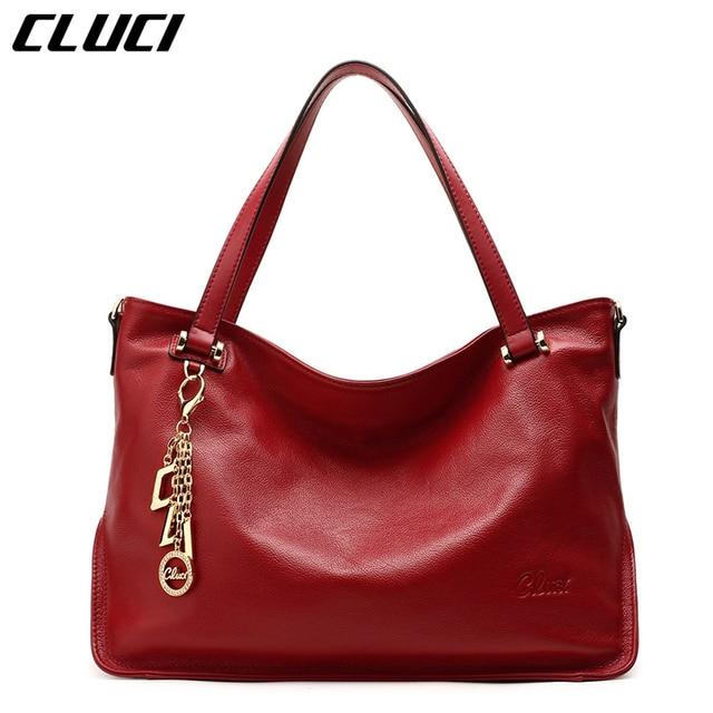 e49e63cf12ea CLUCI Women Brand Handbags Soft Genuine Cow Leather Tote Bags Zipper Black Red  Large High