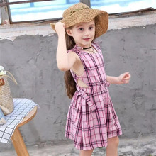 Children's Wear Girl Plaid Dress Summer Sleeveless Princess Style Pink Plaid Clothes Baby Butterfly Knot Afternoon Dress