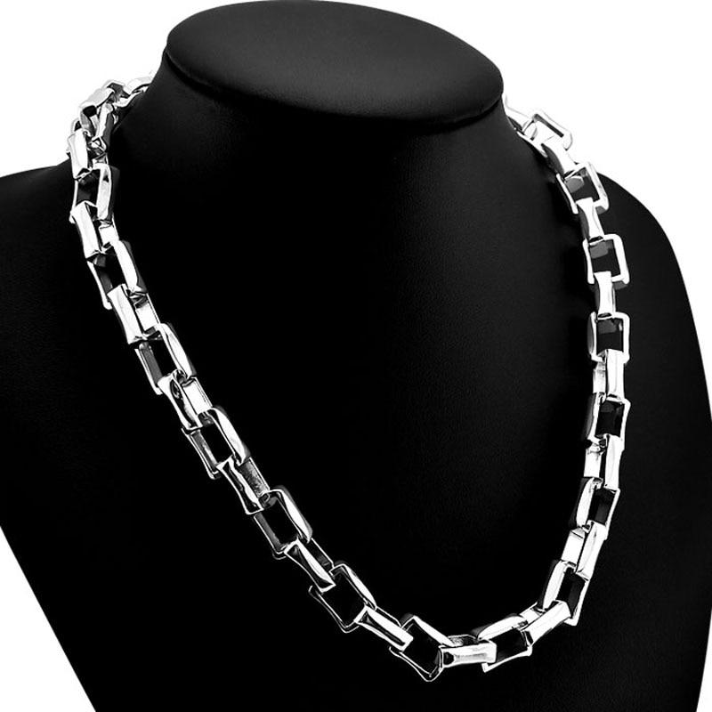 Mode argent homme serrures pendentif bijoux. Real solide 925 collier en argent sterling men.10 mm 26 pouces chaîne carrée 100% pur argent