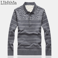 Mens Wool Sweaters Striped Slim Fit Turn Down Collar Good Quality Autumn Clothing Blusa Masculina Sueter
