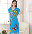 New Arrival Summer Chinese Female Cotton Robe Sleepshirt Elegant Flower Nightgown Sleepwear Women Casual Dress One Size WR086