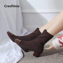 Botas femininas mulheres casual 3.5 mediumn Cresfimix confortável calcanhar botas senhora moda outono & inverno quente botas vinho tinto a2875