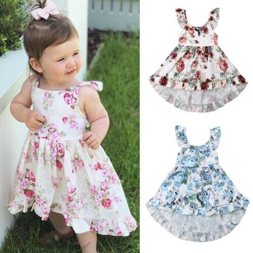 67891c86e2ba Girl Clothes Girl Dress Summer Toddler Kid Baby Girl Flower Print Clothes  Sleeveless Princess Dress Sundress
