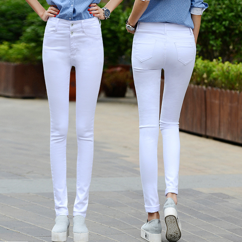 Women white jeans female 2018 new Korean spring and autumn high waist trousers stretch Slim sexy black feet pants pants