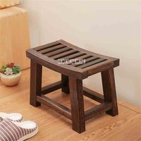 New Portable Modern Chinese Paulownia Wood Solid Wood Stool Asian Traditional Furniture Living Room Small Wooden Bench Low Stool