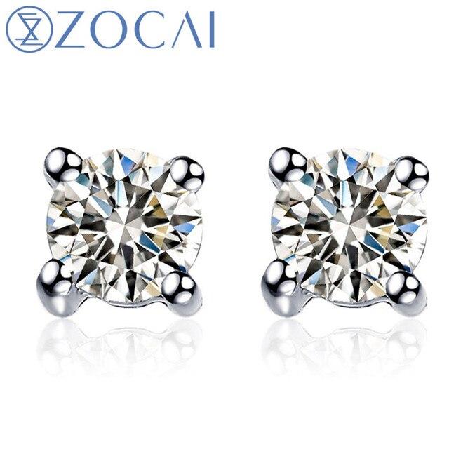 aa2800a935b0 Zocai Pendientes moda boda corte redondo 0.18 CT Certified diamante solitario  Pendientes de broche 18 K