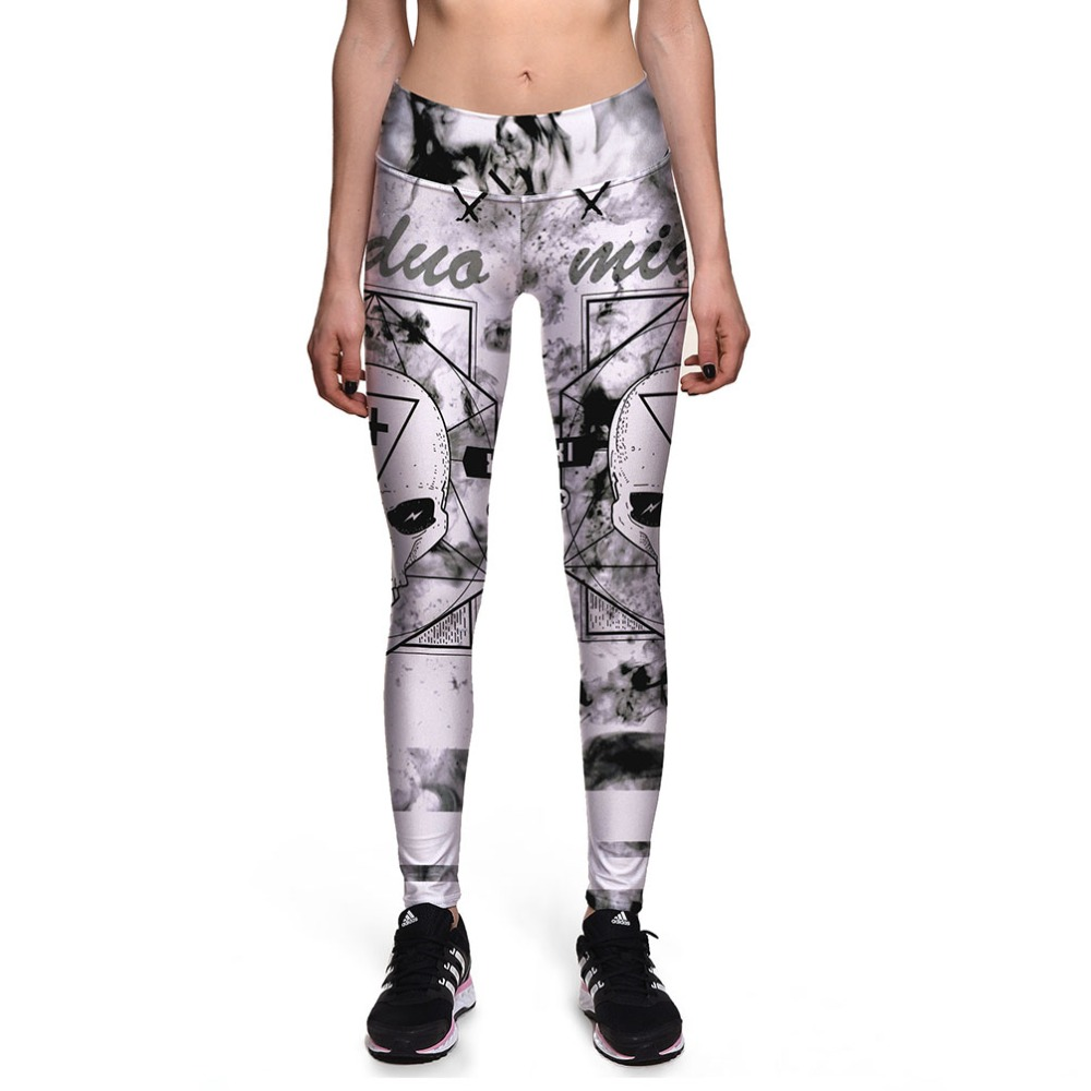 New 0072 Sexy Girl Leggings Retro Vintage Cross Skull Prints High Waist Running Fitness Sport Women Yoga Pants Plus Size