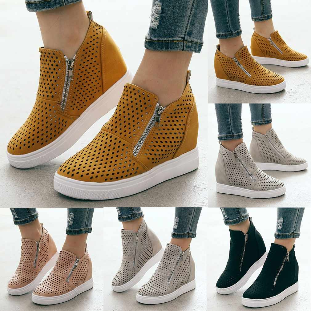 Women Boots Ladies Sole Hollow Zipper Ankle Flat Round Toe Casual Boots Female Comfortable Spring Autumn Shoes Plus Size C50#