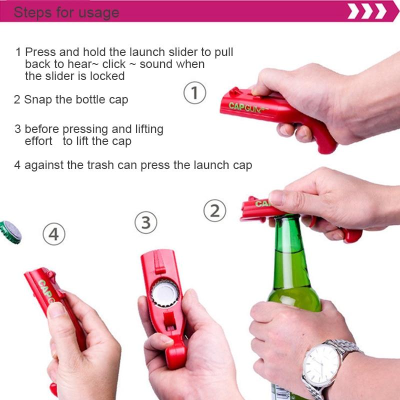 Sales Cap Gun Bottle Opener Firing Cap Gun Creative Flying Cap Launcher Bottle Beer Opener Creative Family Bar Kitchen Tools !