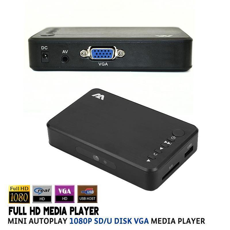 Mini Full HD 1080P USB External Autoplay HDD Media Player With VGA AV output SD/U Disk TV Video HDD Multi Media Player