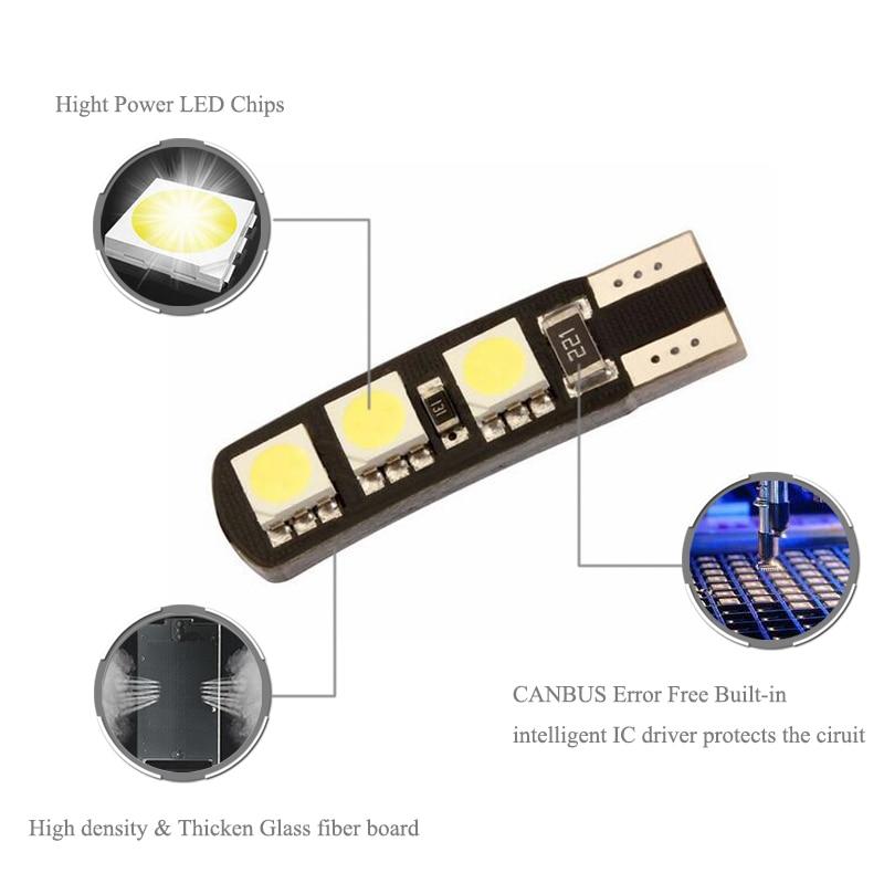BOAOSI 2x T10 LED W5W Samsung 5050SMD Samochodowa tablica - Światła samochodowe - Zdjęcie 2