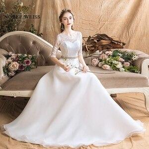 Image 3 - Áo Váy Organza Chữ A Đơn Giản Áo Cưới Gợi Cảm Tầng Chiều Dài Tất Cô Dâu Đầm Với Một Nửa Ren Váy Cưới